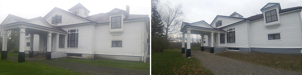 Before and After Painting of Halliburton House in Windsor Nova Scotia